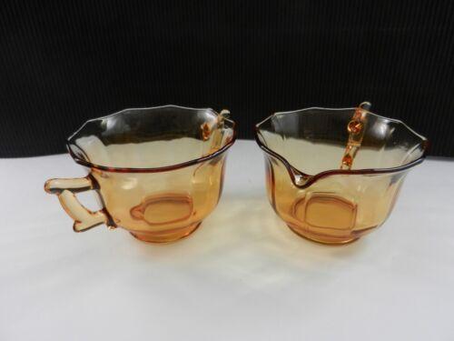 Cambridge Glass Decagon Cream & Sugar Set Amber ca 1930