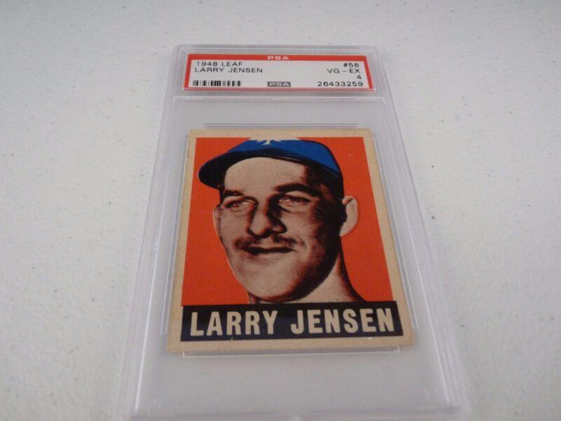 Larry Jensen 1948 Leaf #56 Baseball Card PSA Graded Slabbed VG-EX 4