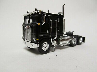 DCP / FIRST GEAR 1/64 SCALE KENWORTH K-100 FLAT TOP, BLACK, DUAL CHROME STACKS