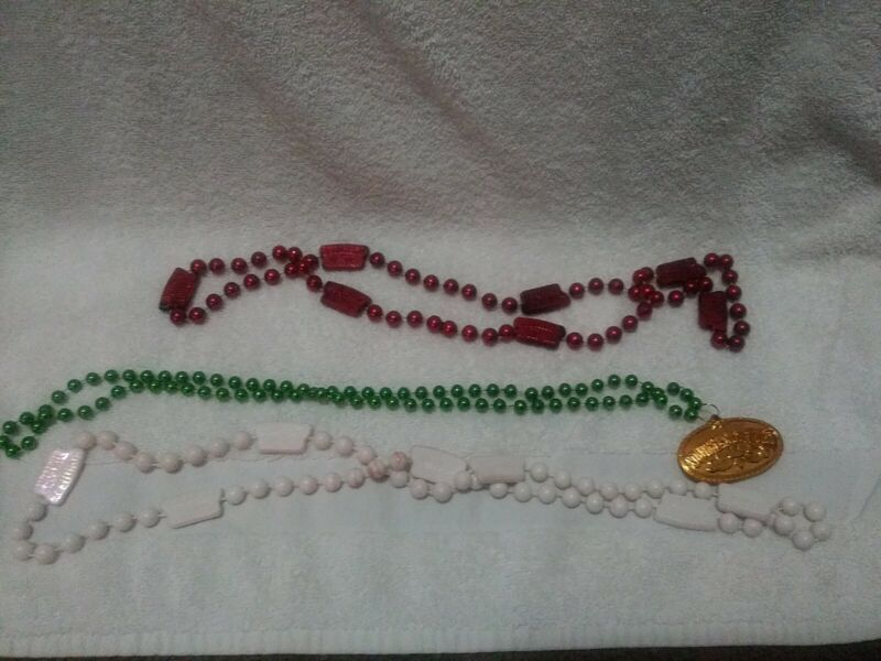 Party Mardi Gras beads Southern Comfort set of 3 red white green