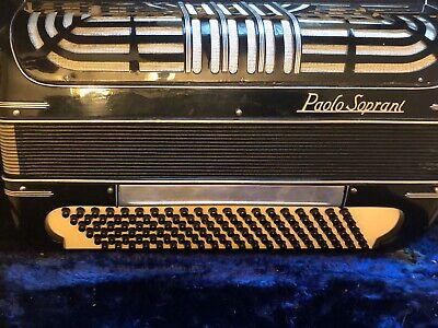 Vintage Paolo Soprani Black Accordion/Akkordeon Made In Italy W/ Case