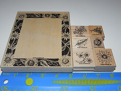 Stampin Up Flora & Fauna Frame Stamp Set of 7 Butterfly Bumble Bee Ladybug Leaf - Flora Bumble Bee