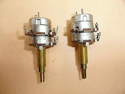 Cts Audio Taper Dual-gang Potentiometer 1 12 Shaft W. Switch Lot Of 2
