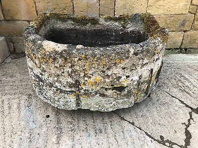 Wonderful hand carved D shaped Victorian stone trough with Edwardian repair