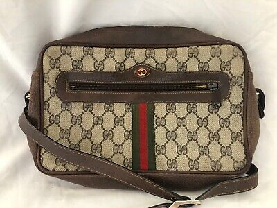 GUCCI Vintage AUTHENTIC GG Monogram Ophidia Web Stripe Crossbody Camera Bag VGUC