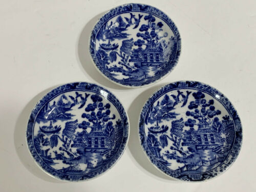 """3 Antique Wedgwood & Co. BLUE WILLOW 3"""" Butter Pats"""
