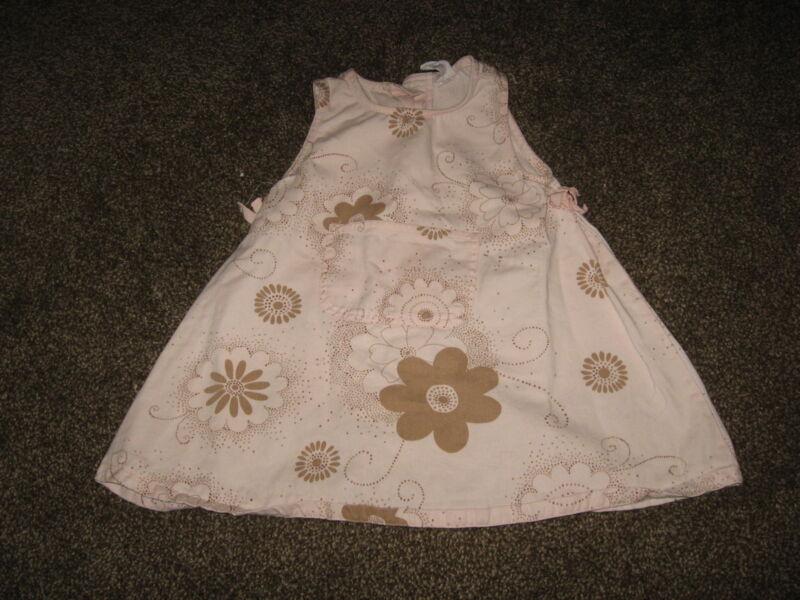 Baby Gap 100% Cotton Light Pink Floral Print Sun Dress Jumper GUC 12-18 months