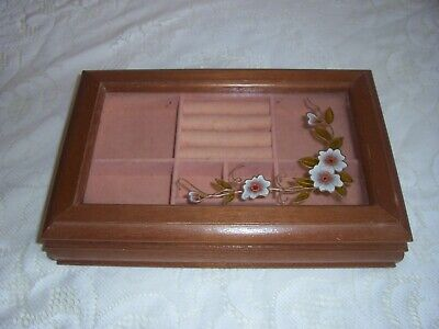 vintage jewellery box display case glass top floral decor 1970/80s 99p no res
