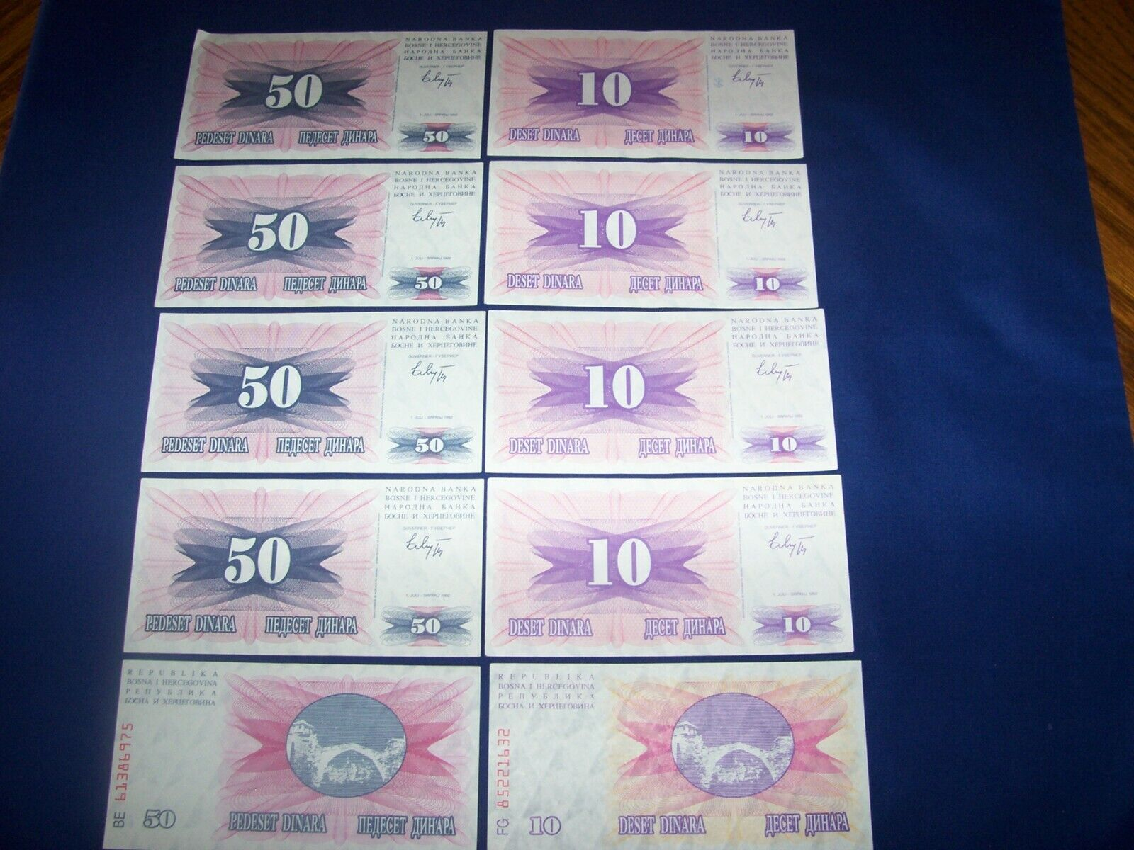Lot Of 10 Bank Notes From Bosnia Two Types - $2.95