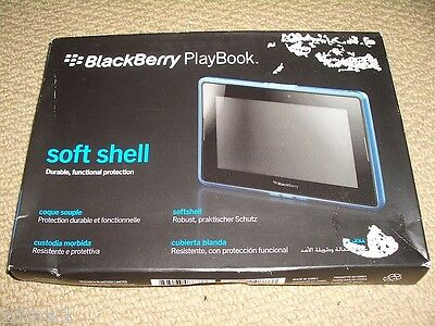 BLACKBERRY PLAYBOOK OFFICIAL SOFT SHELL CLEAR BLUE SILICON CASE - Boxed Blackberry Playbook Silicone Case