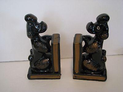 VINTAGE BLACK GLASS poodles   BOOKENDS   JAPAN    6  -