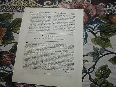 1798 98 Zeitung / Reichsfriede Frankreich /