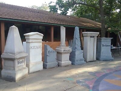 Decorative Tombstone Sculptures w/ names of Great Composers, wood & styrofoam