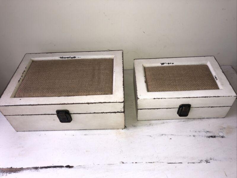 2 White Shabby Trinket Jewelry Box Boxes Burlap Stacking Cottage Farmhouse Decor