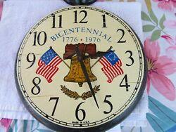 VINTAGE ROBERTSHAW BICENTENIAL EARLY AMERICAN WALL CLOCK FLAGS BELL WORKS NICE