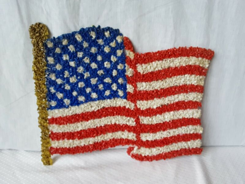 Vintage Melted Plastic Popcorn United States  American Flag decoration RARE