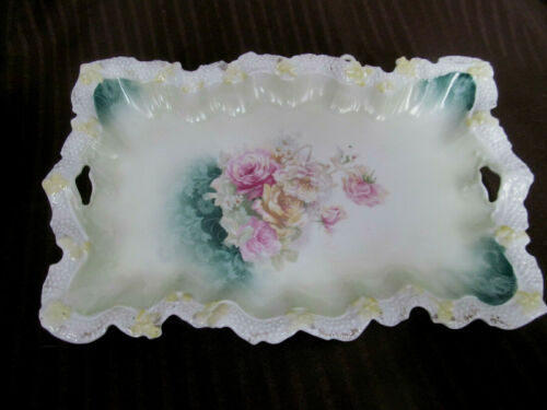 ROSES Antique RS PRUSSIA Dresser Perfume Vanity Tray~Pebbled Floral Border