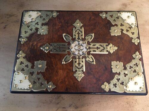 English Walnut Veneer Victorian Box with Brass Circa 1880