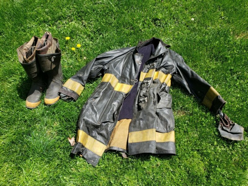 Genuine Vintage NYC Firefighter Coat and Boots