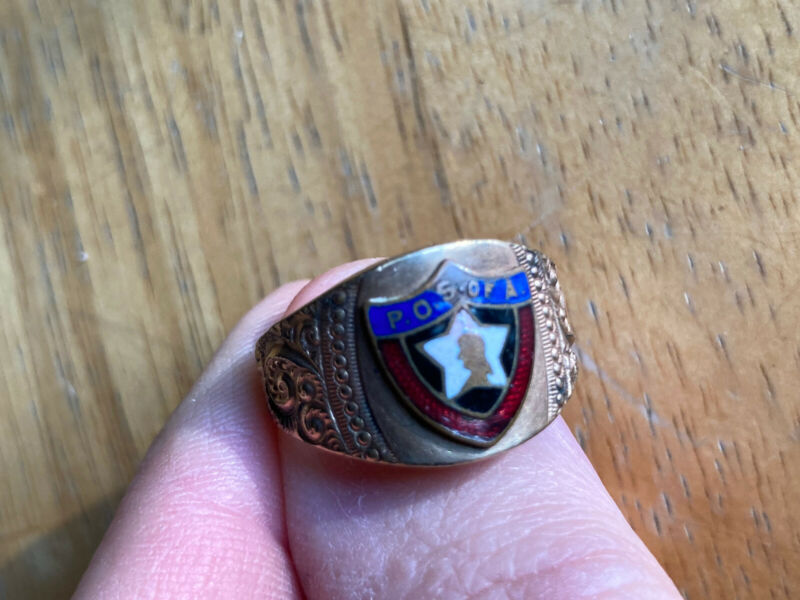 POSA Patriotic Order Sons of America Gold Shell Ring size 10 1/2