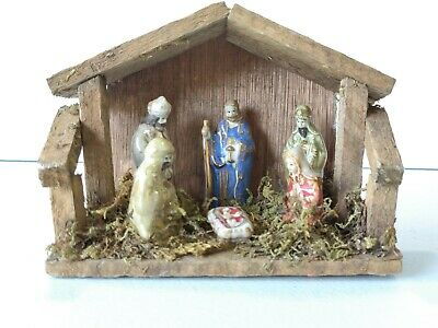 Nativity Scene Porcelain Set w/ Wood Stable 3 Wise Men-Joseph-Mary-Baby Jesus A2