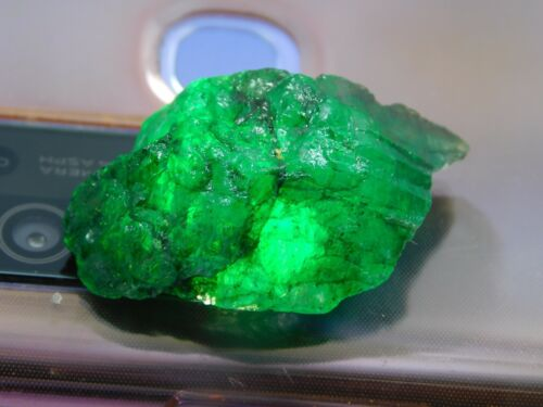 39.00Ct + Translucent Natural Colombian Emerald Green Loose Mineral Rough 1pcs H