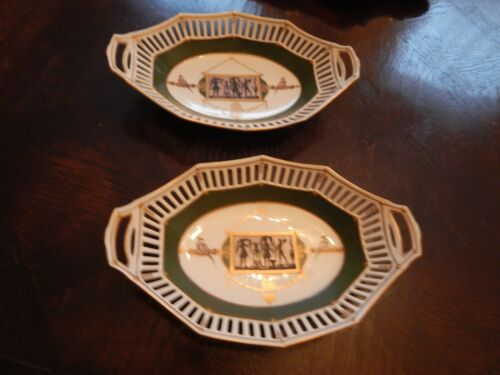 Fine French Antique Pair (2) Sevres Style Porcelain Reticulated Serving Dishes