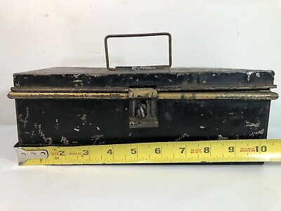 Vintage Black Metal Distressed Petty Cash Tin Money Box No Key