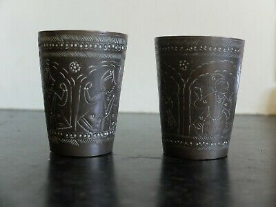 Two  old Indo Persian brass beakers with etched figures