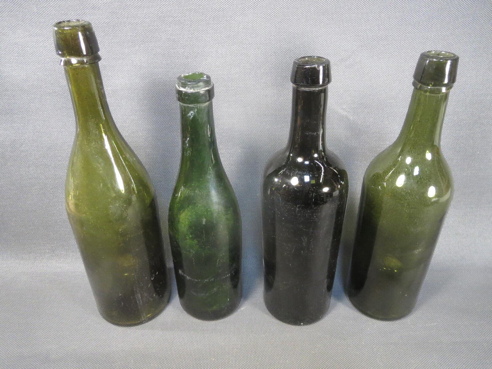 Lot 4 anciennes bouteilles de vin de bistrot vintage à nettoyer ou déco cave