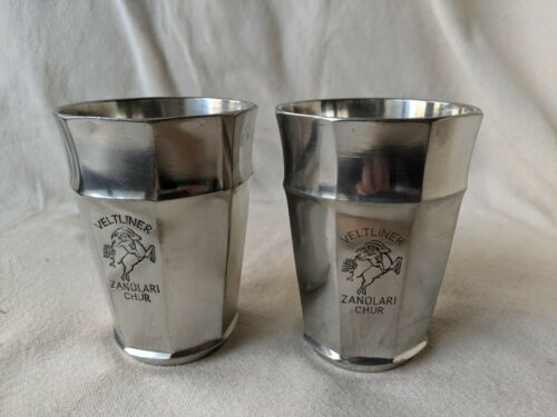 2 Veltliner Zanolari Chur Pewter Cups Marked SIGG Feinzinn Etain Fin Frauenfeld