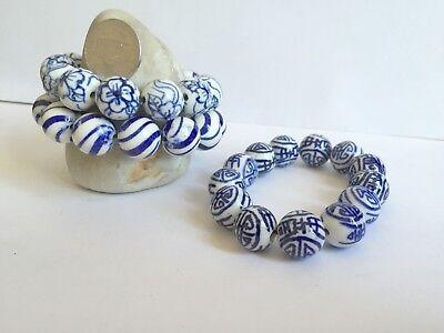 Blue White Ceramic Round Bead Vintage Look 14mm DIY Jewelry Making 35 pcs