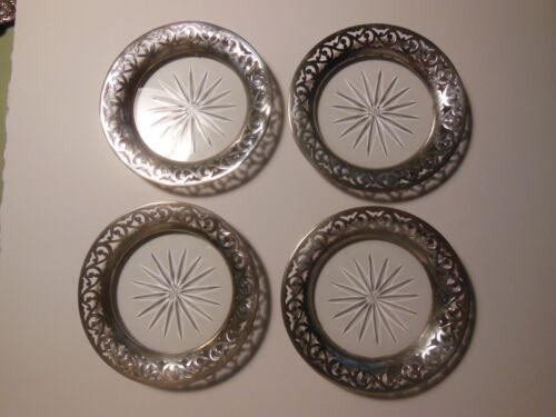 Antique Tiffany & Co Sterling Silver Coasters Set - Star Burst Design