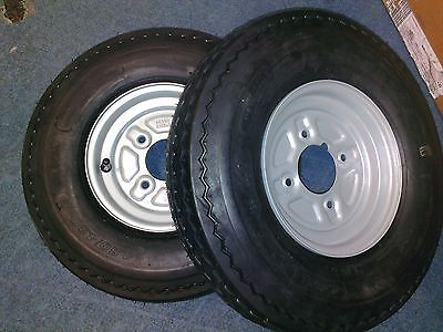 "Pair of Trailer Wheels and Tyres 480/400 x 8"" 4"" PCD 4 Ply with grease nipple"