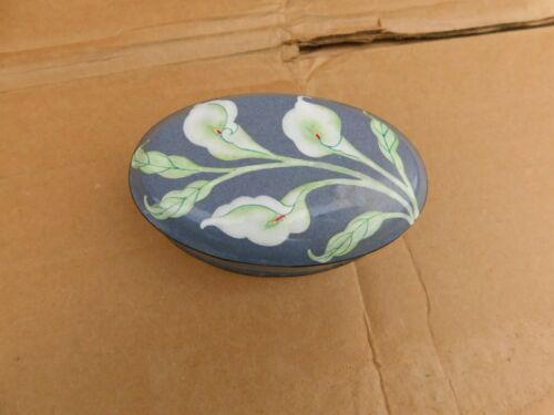 """Small Old Chinese Cloisonne Floral Oval Box 4-1/2"""""""