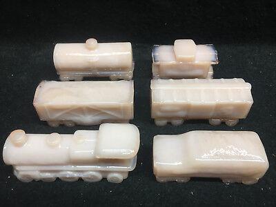 6 Pink milk glass trains engine boxcar coal car caboose tanker crown Tuscan set