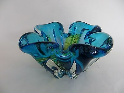 "Glass Bowl Blue with Yellow, 7.5"" across & 3.5"" high approx."