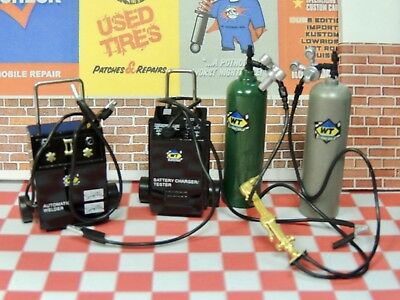 CAR GARAGE 1:18 SCALE MODEL OXYGEN/GAS TANK,BATTERY CHARGER,SPOT WELDER DIE-CAST (Gas Toy Cars)