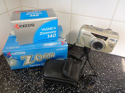Yashica Zoomate 140 35mm film point and shoot camera gift set - case and tripod