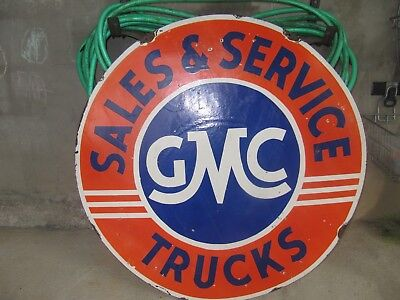 """GMC Truck Service Sales 42"""" Double Sided Porcelain Sign"""