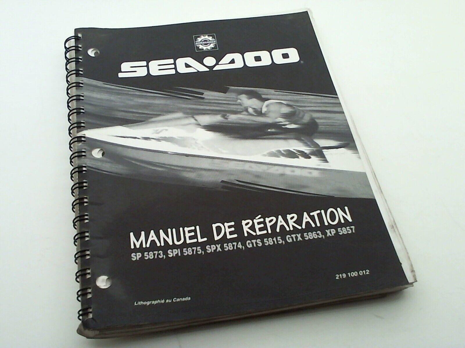 manuel technique atelier entretien jet sea-doo bombardier 1995 voir description