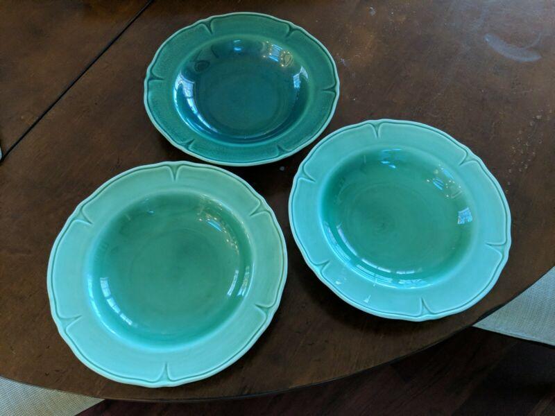 Vintage Mount Clemens Pottery Green Petalware 3 LG Soup Bowls