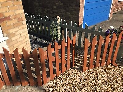 "Garden Picket Fence And Gate. 92"" Long. Ready Painted, Free Standing. Fence,"