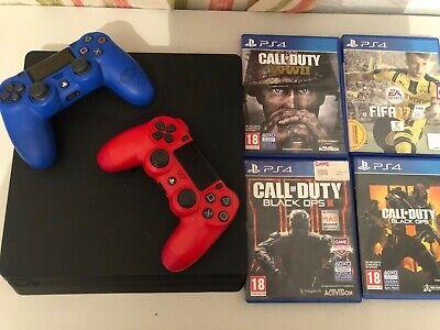 Sony PlayStation 4 Slim 1TB- Negra- Pack PS4 con juegos y 2...