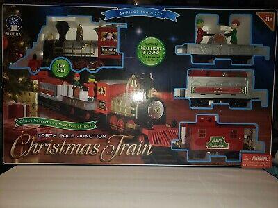 Blue Hat North Pole Junction Christmas Train Set-34 Piece 20' Track Light Sound