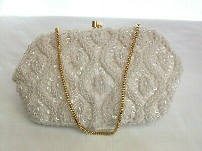 vintage 1950's White beaded evening bag with gold chain handle Empire made