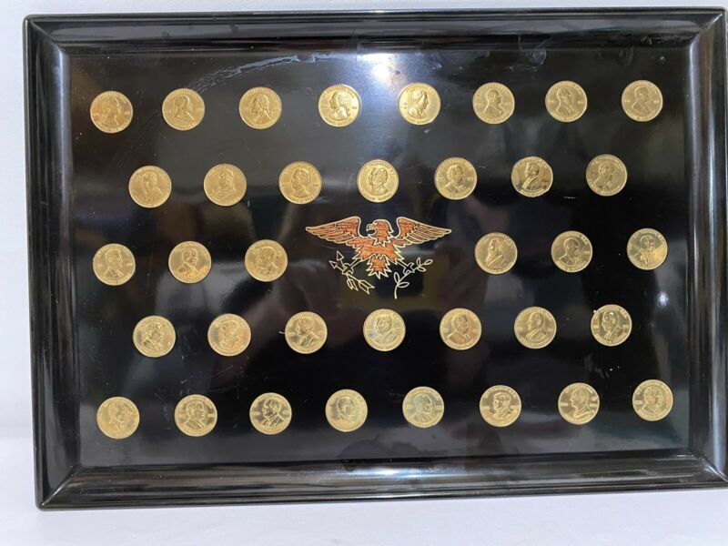 Vintage Couroc Tray President Gold Tone Inlaid Coins George Washington To Nixon