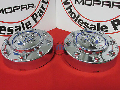 Dodge Ram 3500 Dually Chrome Front Center Hub Cap Wheel Covers X2 NEW OEM MOPAR