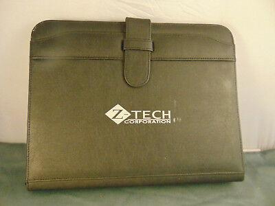 Notebook Zippered Black Vinyl Z Tech Corp Logo 3 Ring Binder 8 12 X 11 Pad