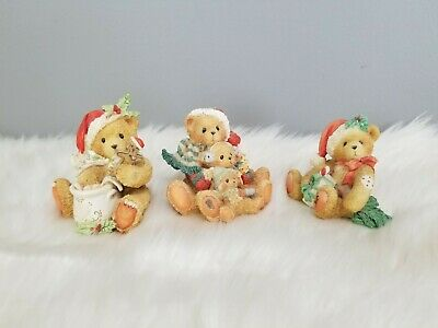 Cherished Teddies Christmas Bears Vintage Village Santa Hats December Steven lot